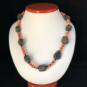 AD LOPEZ Shell with Obsidian or Lava Chunk Necklac